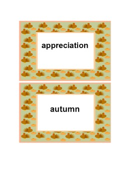Thanksgiving Word Wall and Vocabulary Cards