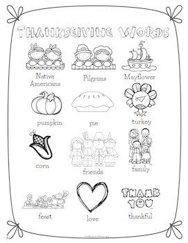 Thanksgiving Word Wall for Daily 5 Writing Portfolios / Journals /Writing Center