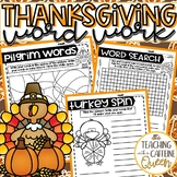 Thanksgiving Word Work Activities - NO PREP - Use with ANY