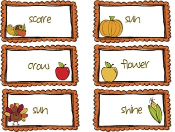Thanksgiving Word Work Centers: compound words, syllables, sight words, plurals
