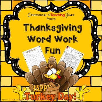 Thanksgiving Word Work Fun!