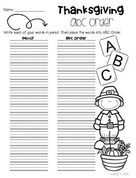 No Prep - Thanksgiving Word Work Fun - Word Study / Spelling / Sight Words