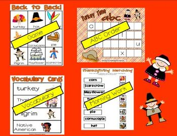 Thanksgiving Word Work Literacy Stations and Centers