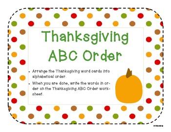 Thanksgiving Word Work Pack