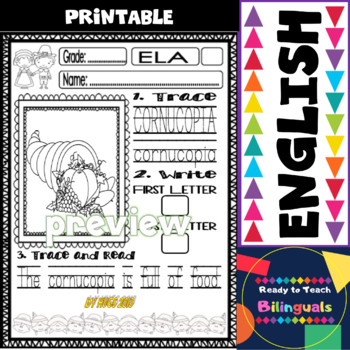 Thanksgiving Word Work Printables for Little Kids (20 words)