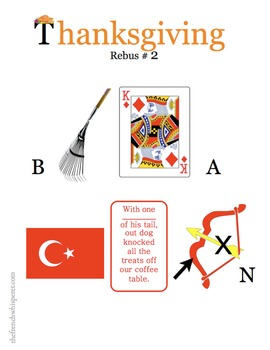 Thanksgiving Word Work (Rebus puzzles to decode and encode)