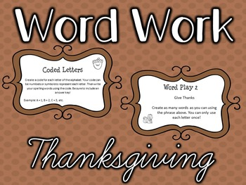 Word Work Task Cards - THANKSGIVING