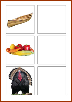 Thanksgiving Word to Picture Matching Activity
