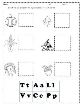 Thanksgiving Words & Beginning Sound Worksheet