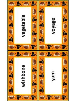 Thanksgiving Activities: Thanksgiving Words Flash Card Set Bundle Packet
