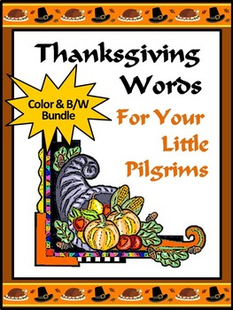 Thanksgiving Activities: Thanksgiving Words Flash Card Set Bundle - Color & BW
