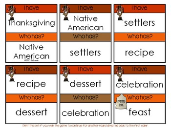 Thanksgiving Words~ I Have, Who Has? Game Cards