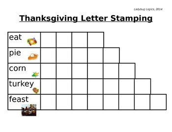 Thanksgiving Words Letter Stamping