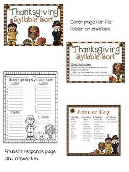 Thanksgiving Words Syllable Sort