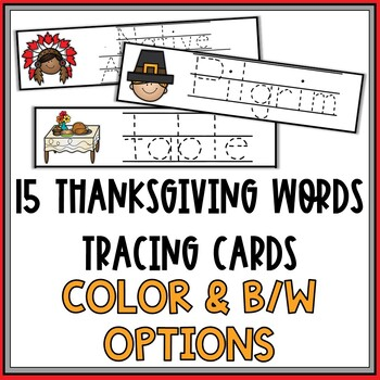 Thanksgiving Words Tracing Cards