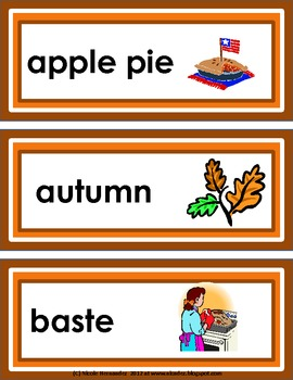 Thanksgiving Words for The Upper Elementary Grades - {95 Illustrated Word Cards}