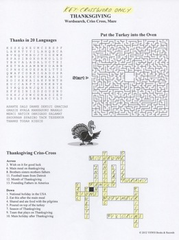 Thanksgiving Wordsearch Crossword Maze