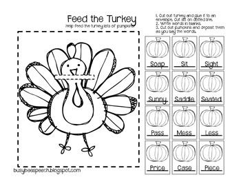 Thanksgiving Worksheet & HW Packet for Speech
