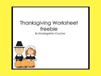Thanksgiving Worksheet -freebie