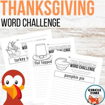 Thanksgiving Word Work Challenge, Turkey Worksheets, Busy Work