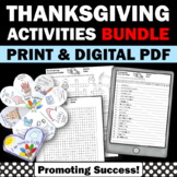 Thanksgiving Activities BUNDLE, Thanksgiving Craft Card, Crossword Puzzle