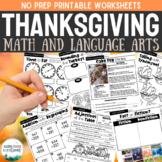 Thanksgiving Worksheets Language Arts and Math Activities