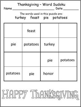 Thanksgiving Worksheets Print and Go for Morning Work or Time Fillers