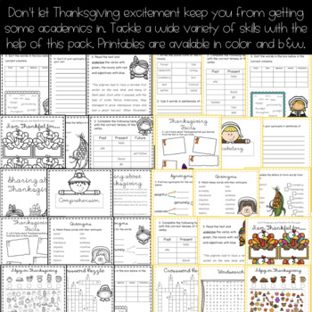 Thanksgiving 2017 Worksheets -Print and Go {Thanksgiving Activities}