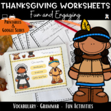 Thanksgiving 2018 Worksheets -Print and Go {Thanksgiving A