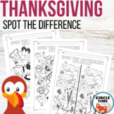 Thanksgiving Worksheets, Spot the Difference