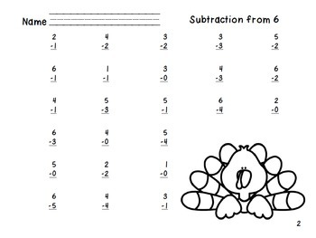 Subtration from 6 through 10