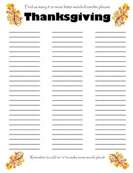 Thanksgiving Worksheets#2
