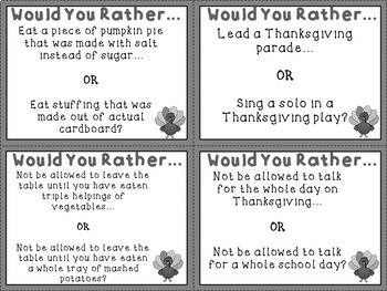 Thanksgiving Would You Rather Task Cards for Persuasive Writing