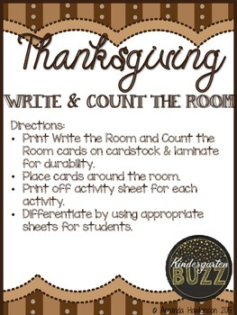 Thanksgiving Write & Count the Room