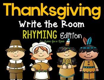 Thanksgiving Write the Room - Rhyming Edition
