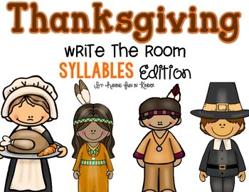 Thanksgiving Write the Room - Syllables Edition