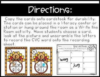 Thanksgiving Write the Room~ Unscramble and Record CVC Words