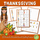 Thanksgiving Write the Room and Spelling Practice
