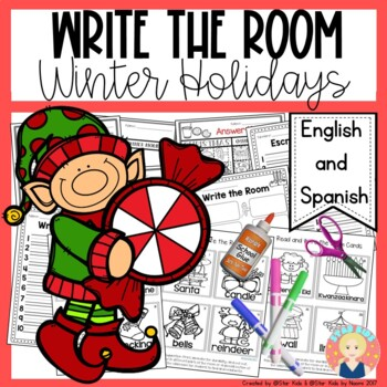 Winter Holidays Write the Room in English and Spanish for K-1