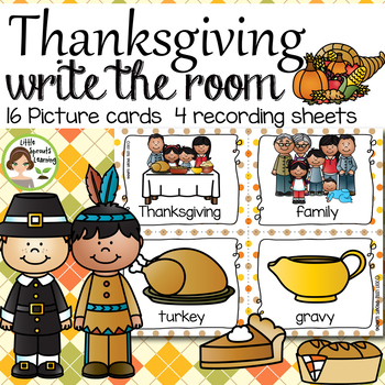 Thanksgiving Write the Room (plus beginning sound and vowel cards)