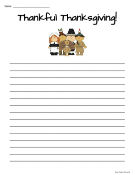 Thanksgiving Writing 1-2-3 -  Graphic Organizer, Template, Lined Paper