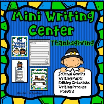 Thanksgiving Writing Center (Thanksgiving Writing Activities) Pilgrims Grades 1