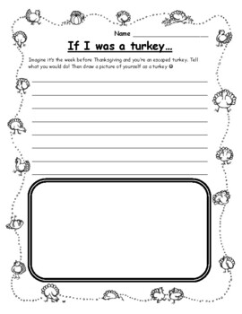 Thanksgiving Writing Activities - If I Were a Turkey Thanksgiving Writing Prompt
