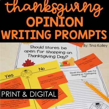 Thanksgiving Writing Activities - Opinion Writing