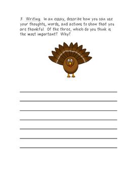 Post-Thanksgiving Writing Activity