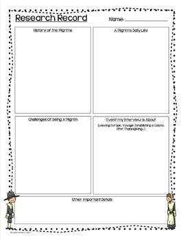 Thanksgiving Writing Activity - Interview With A Pilgrim