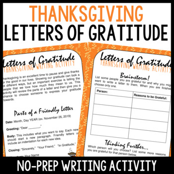 Thanksgiving Writing Activity - Letters of Gratitude