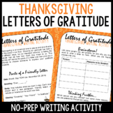 Thanksgiving Letters of Gratitude Writing Activity