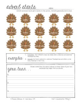 Thanksgiving Writing Activity - Sentence Start Practice with Nouns (Printable)