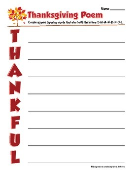 Thanksgiving Writing Activity - Poem